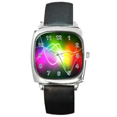 Lines Wavy Ight Color Rainbow Colorful Square Metal Watch