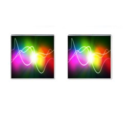 Lines Wavy Ight Color Rainbow Colorful Cufflinks (square)