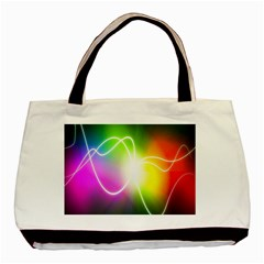 Lines Wavy Ight Color Rainbow Colorful Basic Tote Bag