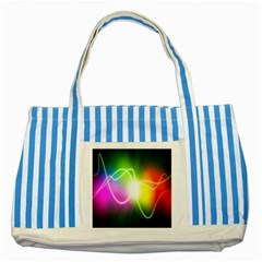 Lines Wavy Ight Color Rainbow Colorful Striped Blue Tote Bag