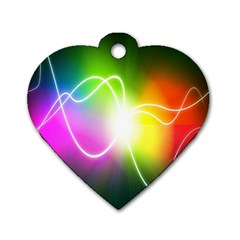 Lines Wavy Ight Color Rainbow Colorful Dog Tag Heart (Two Sides)
