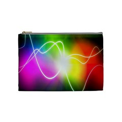 Lines Wavy Ight Color Rainbow Colorful Cosmetic Bag (Medium)