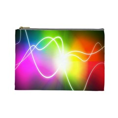 Lines Wavy Ight Color Rainbow Colorful Cosmetic Bag (Large)