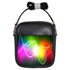 Lines Wavy Ight Color Rainbow Colorful Girls Sling Bags