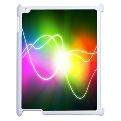 Lines Wavy Ight Color Rainbow Colorful Apple iPad 2 Case (White)