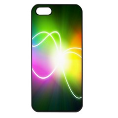 Lines Wavy Ight Color Rainbow Colorful Apple iPhone 5 Seamless Case (Black)
