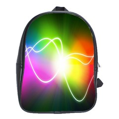 Lines Wavy Ight Color Rainbow Colorful School Bags (XL)