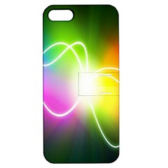 Lines Wavy Ight Color Rainbow Colorful Apple iPhone 5 Hardshell Case with Stand
