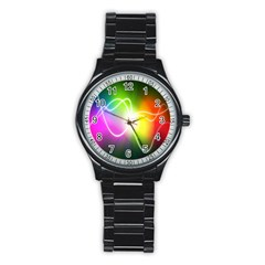 Lines Wavy Ight Color Rainbow Colorful Stainless Steel Round Watch