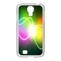 Lines Wavy Ight Color Rainbow Colorful Samsung GALAXY S4 I9500/ I9505 Case (White)