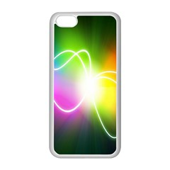 Lines Wavy Ight Color Rainbow Colorful Apple iPhone 5C Seamless Case (White)