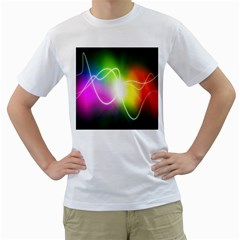 Lines Wavy Ight Color Rainbow Colorful Men s T-Shirt (White)