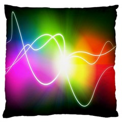 Lines Wavy Ight Color Rainbow Colorful Large Flano Cushion Case (One Side)