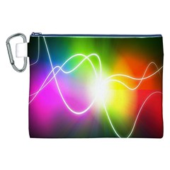 Lines Wavy Ight Color Rainbow Colorful Canvas Cosmetic Bag (XXL)