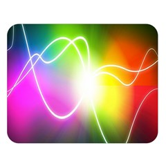 Lines Wavy Ight Color Rainbow Colorful Double Sided Flano Blanket (Large)