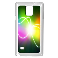 Lines Wavy Ight Color Rainbow Colorful Samsung Galaxy Note 4 Case (white)