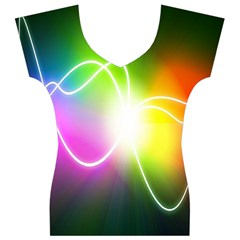 Lines Wavy Ight Color Rainbow Colorful Women s V-Neck Cap Sleeve Top