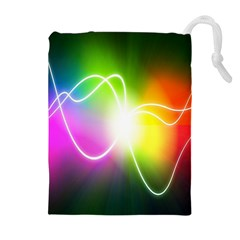 Lines Wavy Ight Color Rainbow Colorful Drawstring Pouches (Extra Large)