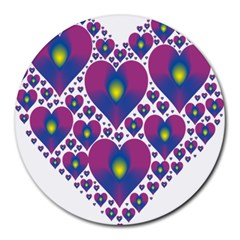 Heart Love Valentine Purple Gold Round Mousepads