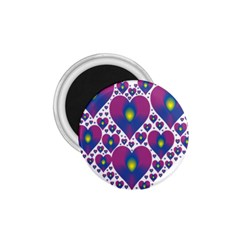 Heart Love Valentine Purple Gold 1 75  Magnets