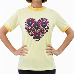 Heart Love Valentine Purple Gold Women s Fitted Ringer T-Shirts
