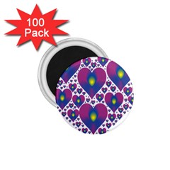 Heart Love Valentine Purple Gold 1.75  Magnets (100 pack)