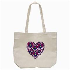 Heart Love Valentine Purple Gold Tote Bag (Cream)