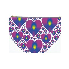 Heart Love Valentine Purple Gold Cosmetic Bag (Large)