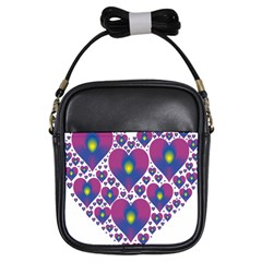 Heart Love Valentine Purple Gold Girls Sling Bags