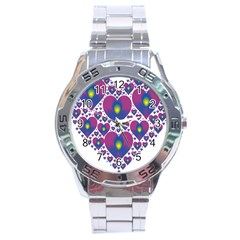 Heart Love Valentine Purple Gold Stainless Steel Analogue Watch