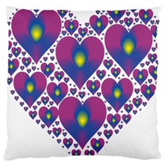 Heart Love Valentine Purple Gold Large Cushion Case (one Side)