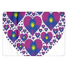 Heart Love Valentine Purple Gold Samsung Galaxy Tab 10.1  P7500 Flip Case