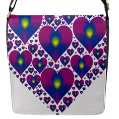 Heart Love Valentine Purple Gold Flap Messenger Bag (S)