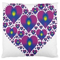 Heart Love Valentine Purple Gold Large Flano Cushion Case (Two Sides)
