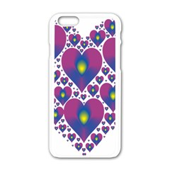 Heart Love Valentine Purple Gold Apple iPhone 6/6S White Enamel Case