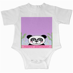 Panda Happy Birthday Pink Face Smile Animals Flower Purple Green Infant Creepers