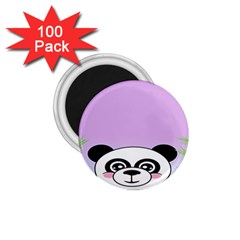 Panda Happy Birthday Pink Face Smile Animals Flower Purple Green 1.75  Magnets (100 pack)