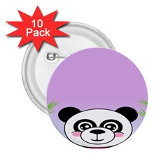 Panda Happy Birthday Pink Face Smile Animals Flower Purple Green 2.25  Buttons (10 pack)