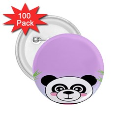 Panda Happy Birthday Pink Face Smile Animals Flower Purple Green 2.25  Buttons (100 pack)