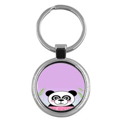Panda Happy Birthday Pink Face Smile Animals Flower Purple Green Key Chains (Round)