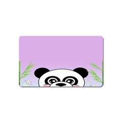 Panda Happy Birthday Pink Face Smile Animals Flower Purple Green Magnet (name Card)