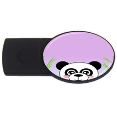 Panda Happy Birthday Pink Face Smile Animals Flower Purple Green Usb Flash Drive Oval (2 Gb)