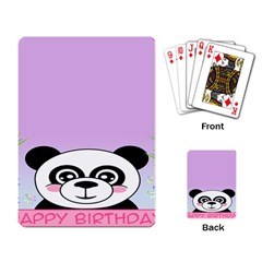 Panda Happy Birthday Pink Face Smile Animals Flower Purple Green Playing Card