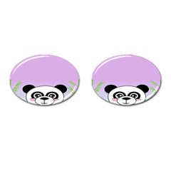 Panda Happy Birthday Pink Face Smile Animals Flower Purple Green Cufflinks (oval)