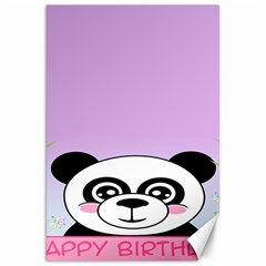 Panda Happy Birthday Pink Face Smile Animals Flower Purple Green Canvas 20  x 30