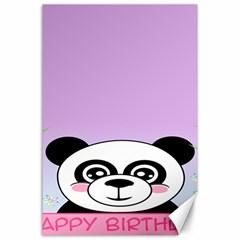 Panda Happy Birthday Pink Face Smile Animals Flower Purple Green Canvas 24  x 36