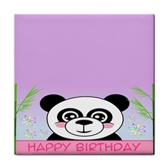 Panda Happy Birthday Pink Face Smile Animals Flower Purple Green Face Towel