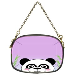 Panda Happy Birthday Pink Face Smile Animals Flower Purple Green Chain Purses (One Side)