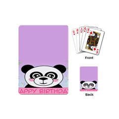 Panda Happy Birthday Pink Face Smile Animals Flower Purple Green Playing Cards (Mini)