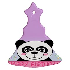 Panda Happy Birthday Pink Face Smile Animals Flower Purple Green Ornament (Christmas Tree)
